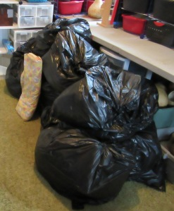 11 bags of fabric leaving
